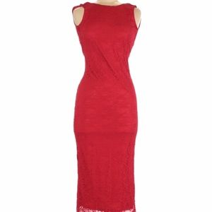 ASOS Red Lace Scoop Back Midi Dress Size 8